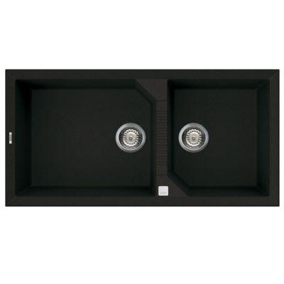 Rubine-MEQ860-100-Granite-Sink-Pearl-Black