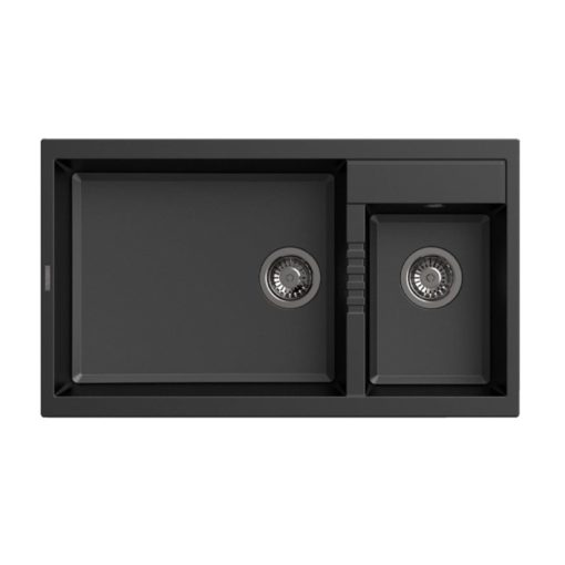 Rubine-MEQ860-86L-Granite-Sink-Pearl-Black