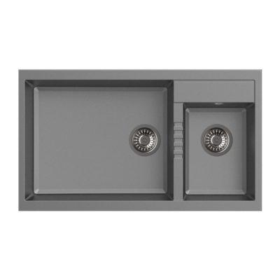 Rubine-MEQ860-86L-Granite-Sink-Titanium-Silver