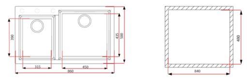 Rubine MEQ R Granite Sink Specs