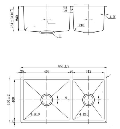 FSD  Nano Black Stainless Steel Sink Specs