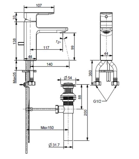 American-Standard-Acacia-Evolution-Basin-Mixer-FFAS1301-101500BF0-Specs