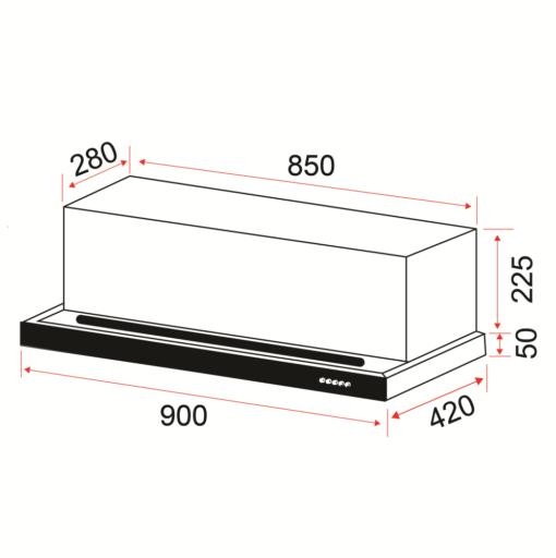 EF POWER SLIM  XVL Semi Integrated Hood specs