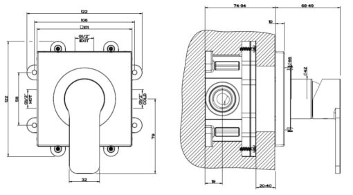 Gessi   Corso Venezia Concealed Shower Mixer Specs