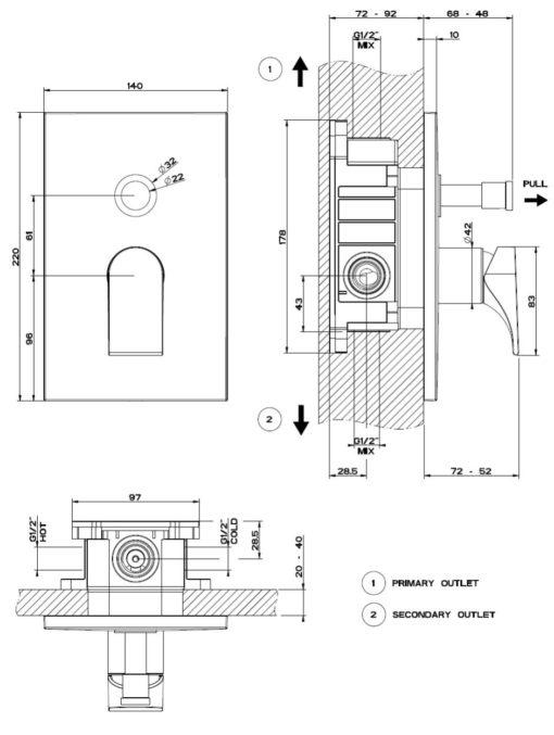 Gessi   Via Solferino Concealed Bath Mixer Specs
