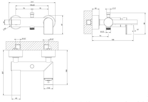 Gessi-38613-Via-Manzoni-Bath-Mixer-Specs