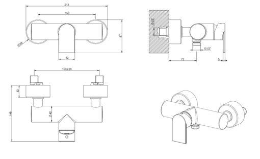 Gessi-38631-Via-Manzoni-Shower-Mixer-Specs