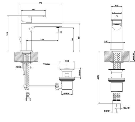 Gessi  Corso Venezia Basin Mixer Specs