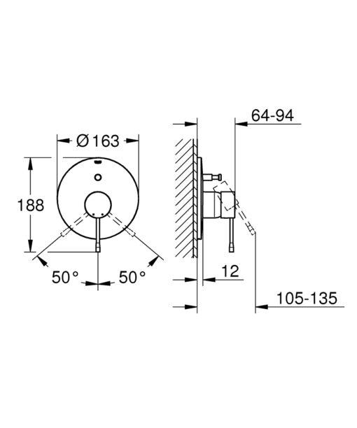 Grohe GL Bath Shower Mixer Trim Specs