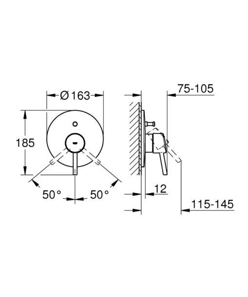 Grohe  Bath Shower Mixer Trim Specs