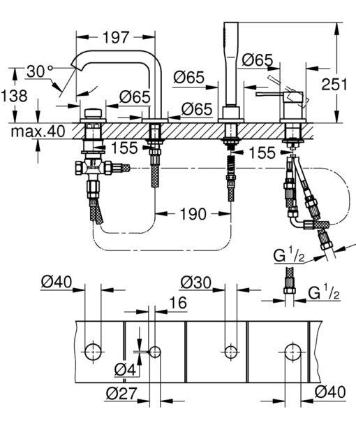 Grohe DA Single Lever Bath Combination Specs