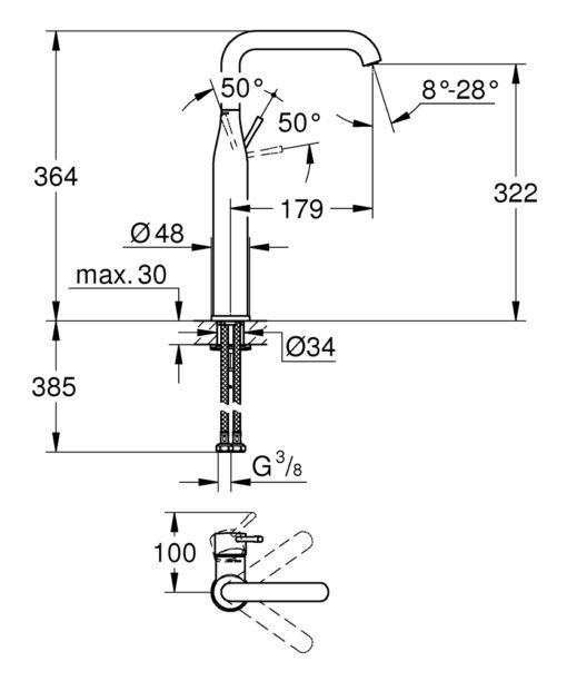 Grohe AL Basin Mixer Specs